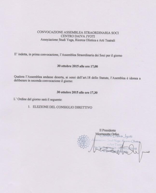 CONVOCAZIONE ASSEMBLEA STRAORDINARIA SOCI