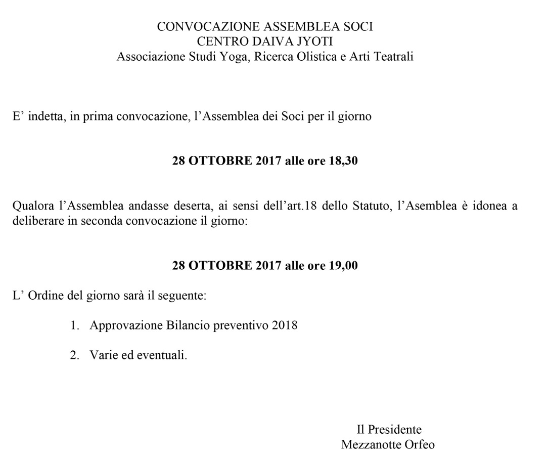 Microsoft Word - CONVOCAZIONE ASSEMBLEA SOCI  28 OTTOBRE 2017.do